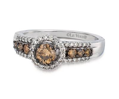 14K Vanilla Gold® Ring with Chocolate Diamonds® 1/2 cts., Vanilla Diamonds® 1/4 cts. | YPSR 1